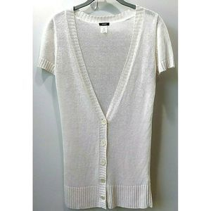 J Crew 100% Linen Cardigan Sweater Deep V Neck